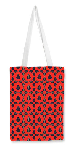 Seamless pattern with leaves on red background Tote Bags | Artist : Designerchennai
