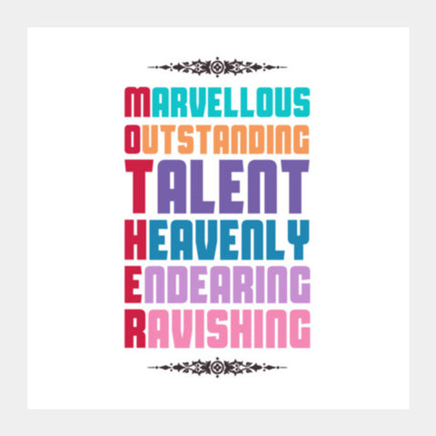 Beautiful Words For Mother Square Art Prints PosterGully Specials
