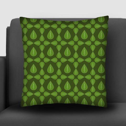 Seamless pattern with leaves on green background Cushion Covers | Artist : Designerchennai