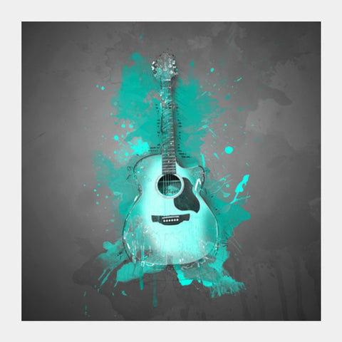 Guitar Splash –Aqua Square Art Prints | Artist : Darshan Gajara's Artwork