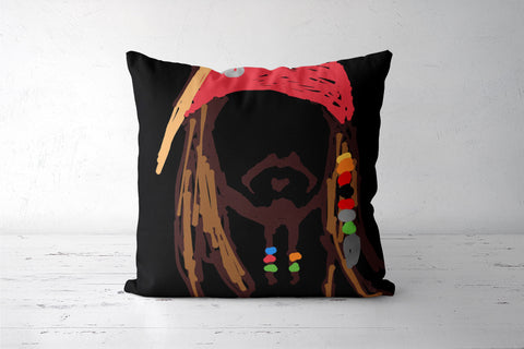 Jack Sparrow Pirates Of The Caribbean Minimal Doodle Cushion Covers | Artist : Praband