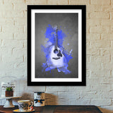 Guitar Splash | Blue Premium Italian Wooden Frames | Artist : Darshan Gajara's Artwork
