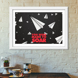 Paper planes Fly Motivation Quote Premium Italian Wooden Frames | Artist : Sanpreet Kaur