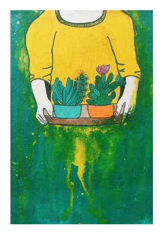 Cactus Girl Wall Art | Artist : Priyanka Paul