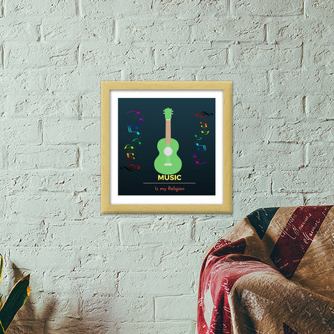 Music is my Religion Premium Square Italian Wooden Frames | Artist : Pallavi Rawal