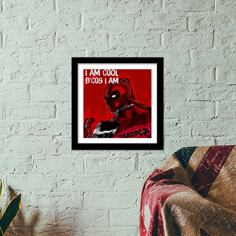 Premium Square Italian Wooden Frames, Cool Deadpool Premium Square Italian Wooden Frames | Artist : Draw On Demand, - PosterGully - 1