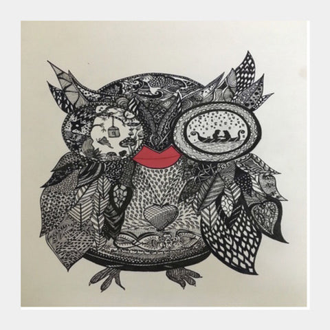 The Mystic Owl Square Art Prints | Artist : Quirky Designs by Priyanka Singhania