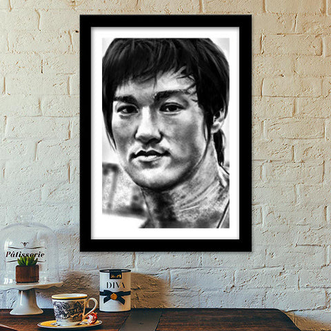 Bruce Lee the Legend Premium Italian Wooden Frames | Artist : Draw On Demand