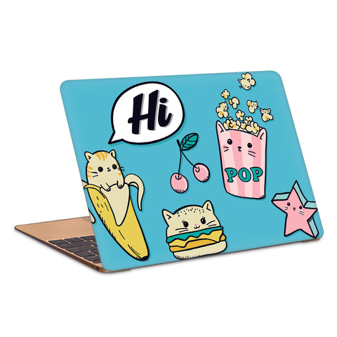 Cute Kitty Burger Popcorn Artwork Laptop Skin