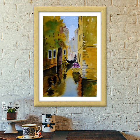 Rowing through the enchanted realms of Venice. Premium Italian Wooden Frames | Artist : Rahul Tanwar