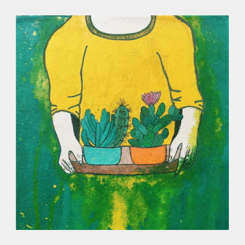 Cactus Girl Square Art Prints | Artist : Priyanka Paul