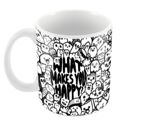 What makes you happy doodle Coffee Mugs | Artist : Naeema Rezmin
