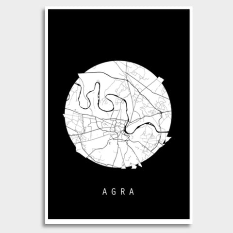 Agra Map, Black and White, India Map, World Map, Minimal Art, Poster, Wall Decor Giant Poster | Artist : Shikhar Bhardwaj