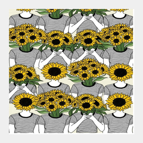 Sunflowers Collage Square Art Prints | Artist : Priyanka Paul
