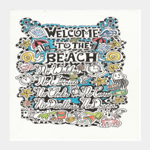 Square Art Prints, WHY go to the beach? Square Art Prints | Artist : Suneera Heloise Mendonsa, - PosterGully