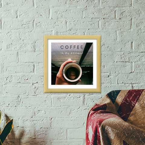 Coffee is my saviour  Premium Square Italian Wooden Frames | Artist : nandita sharma