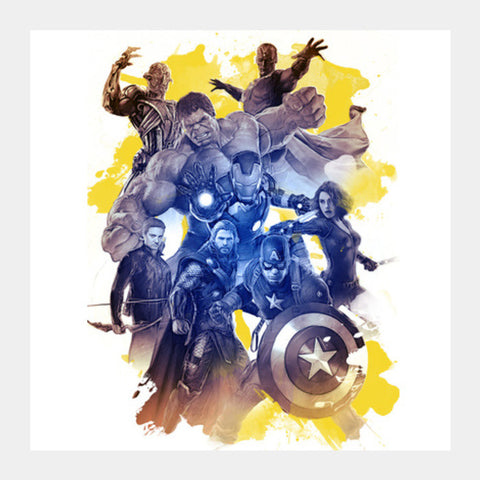 Avengers age of ultron watercolor digital Square Art Prints | Artist : Cuboidesign