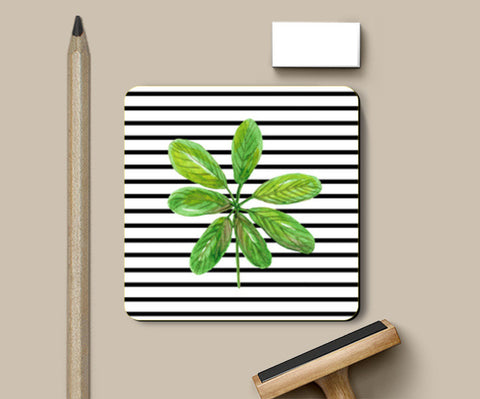 Green Leaf And Horizontal Black Stripes Design Coasters | Artist : Seema Hooda