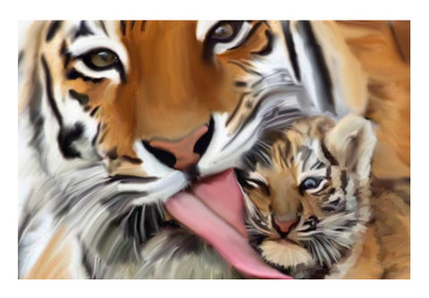 Tiger And Cub  Painting Art PosterGully Specials