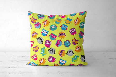 Chirpy Owls Cushion Covers | Artist : Pratyusha Subramaniam