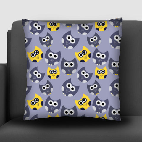 Owl illustrations pattern on gray background Cushion Covers | Artist : Designerchennai