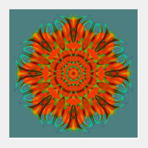 Square Art Prints, Orange Kaleido Square Art Prints | Artist : CK GANDHI, - PosterGully