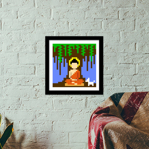 Buddha under a tree pixel Premium Square Italian Wooden Frames | Artist : 8bitbaba