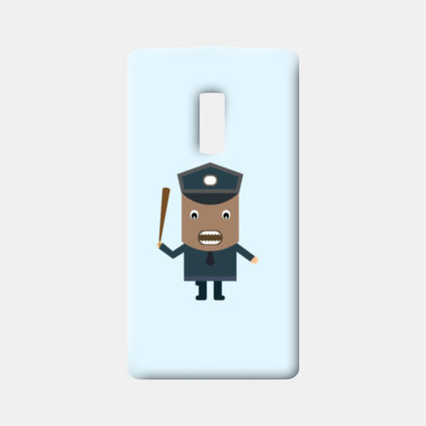 Cartoon of a strict policeman One Plus Two Cases | Artist : Mani Selvam