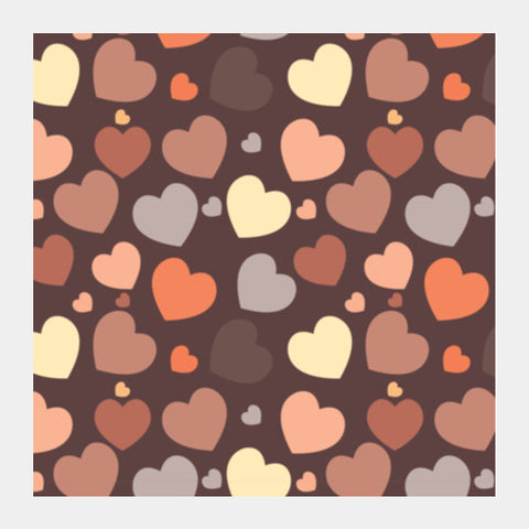 Hearts Seamless On Chocolate Brown Square Art Prints PosterGully Specials