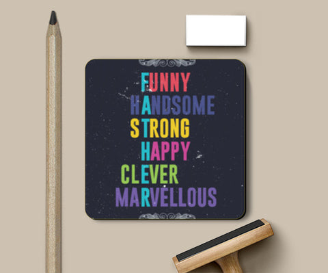 Meaning of each letter of father Coasters | Artist : Designerchennai
