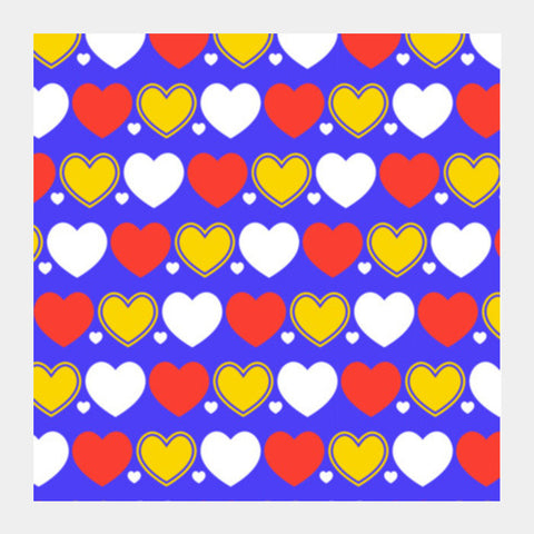 Hearts Seamless Multicolor Pattern Square Art Prints PosterGully Specials