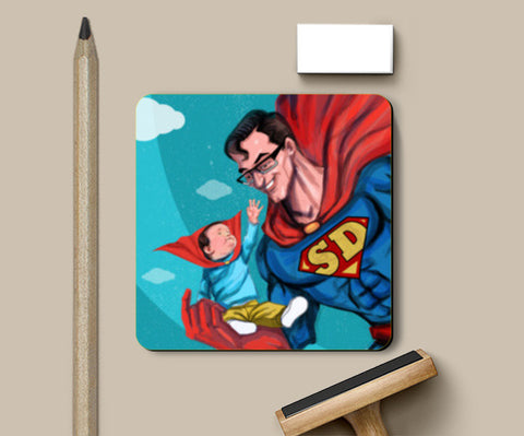 My Dad is Superman - Happy Father's Day Coasters | Artist : Raman Bhardwaj