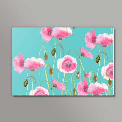 Abstract Pink Poppies Nature Painting Mint Floral Metal Prints | Artist : Seema Hooda