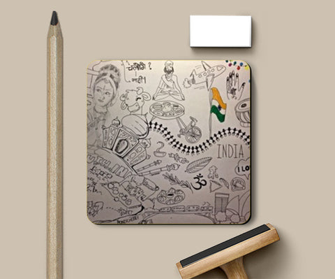 Coasters, I love India Doodle Coasters | Artist : Doodle Love, - PosterGully