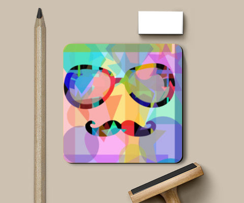 Cool Moustache Pop Art Coasters | Artist : SREY