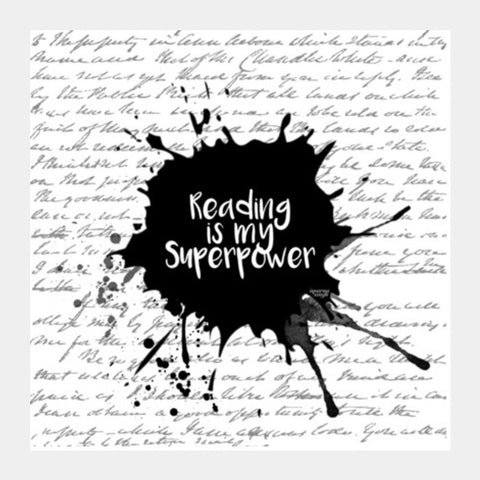 Reading is my Superpower (White) Square Art Prints | Artist : Aparna Singh