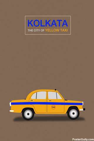 Wall Art, Kolkata Yellow Texi Artwork | Artist: Sourab Biswas, - PosterGully - 1