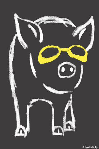 Brand New Designs, Piggy Wants To Be Cool Grey | By Captain Kyso, - PosterGully - 1