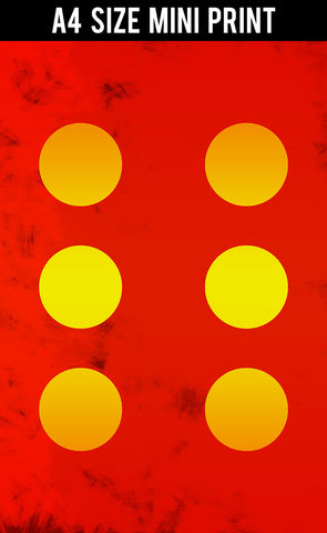 Mini Prints, 6 Yellow Circles | Red Abstract | Mini Print, - PosterGully