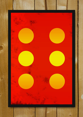 Glass Framed Posters, 6 Yellow Circles Red Abstract Glass Framed Poster, - PosterGully - 1