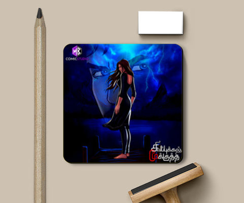 Coasters, Mysterious Girl at a Blue Lake: Sivappu Kal Mookuthi Tamil Comics Merchandise Coasters | Artist : Nandhini JS, - PosterGully
