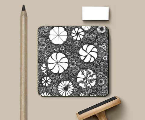 Coasters, Hand-drawn Flower Art Coaster Coasters | Artist : Aniruddha De, - PosterGully