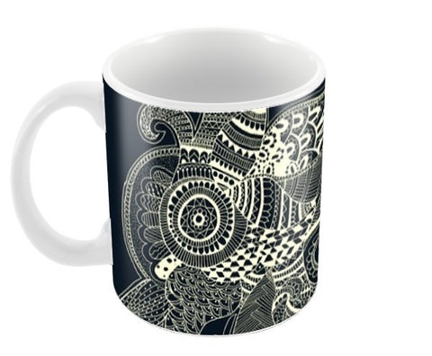 Black and White Doodle Coffee Mugs | Artist : Megha Vohra