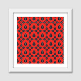 Seamless pattern with leaves on red background Premium Square Italian Wooden Frames | Artist : Designerchennai