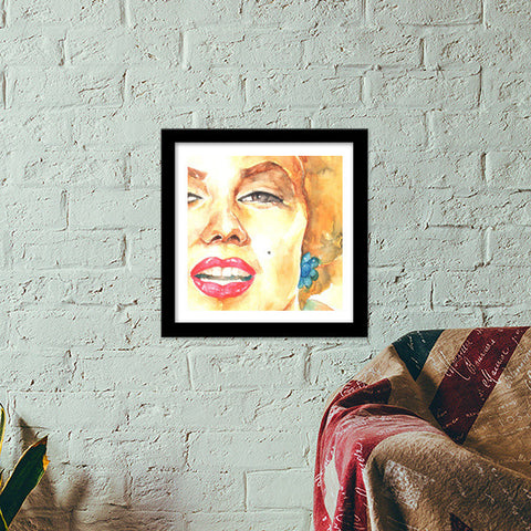 Marilyn in Watercolors Premium Square Italian Wooden Frames | Artist : Naiya Parkash