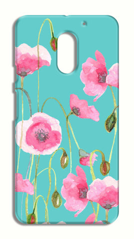 Beautiful Painted Pink Poppy Flowers Mint Floral Design Moto E3 Cases | Artist : Seema Hooda