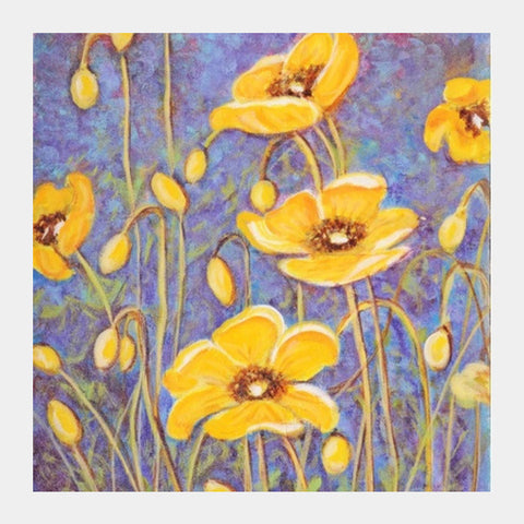 Square Art Prints, yellow poppies Square Art Prints | Artist : Raji Chacko classic paintings, - PosterGully
