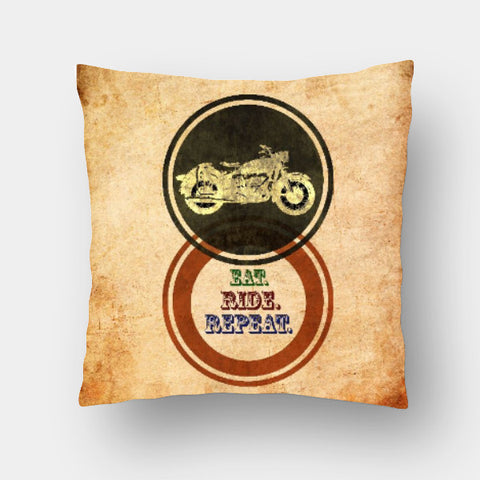 Cushion Covers, Eat Ride Repeat Cushion Cover | Artist: Abhishek Faujdar, - PosterGully