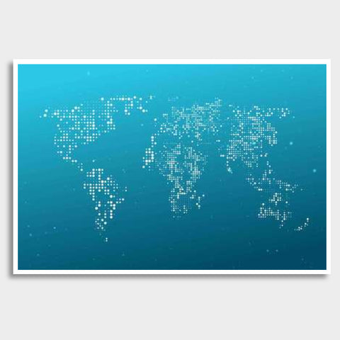 Blue & White World Map Giant Poster | Artist : Inderpreet Singh