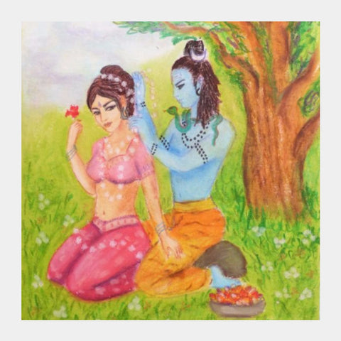 Square Art Prints, Shiva and Parvati Square Art | artist: Lalitavv, - PosterGully